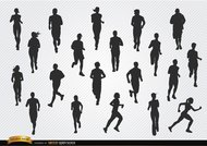 People jogging silhouettes