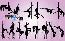 Sexy Pole Dance Pack silhouet