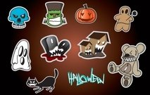 Sticker Set with Halloween Object