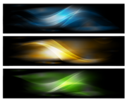 3 Fantasy Banners with Glossy Waving Curves