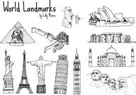 Free Hand Drawn World Landmark Vectors
