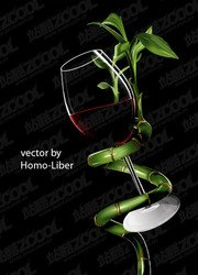 ai realistic rendering of red wine and evergreen vector mate
