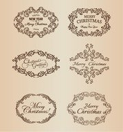 Vector Set of Christmas Decoration Frame Elements