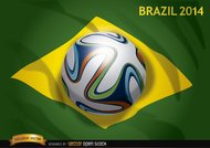 Brazil flag 2014 with official soccer football