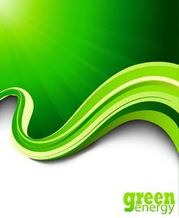 Green Energy Rays Wavy Edge Background