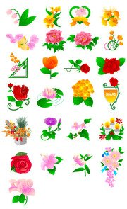 Peony flowers, roses, tulips and other flowers Vector materi