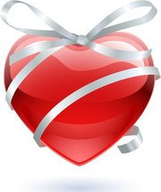 Glass heart with ribbon