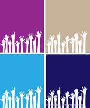 Set of Rising Hands Background