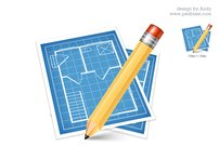 Architectural blue print icon (PSD)