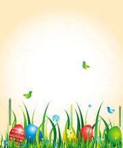 Vector Easter Background With Grass And Eggs