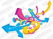 A colorful three-dimensional vector arrows round the theme m