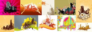 10 trend of urban architectural theme illustrator vector mat
