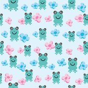 Cute frog flower background vector continuous material