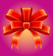 Red 3D Tied Ribbon Decoration
