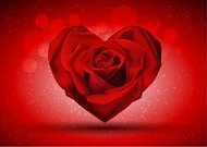 Red Rose in The Shape of Heart over Bright Background