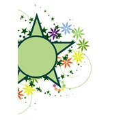 GREEN STAR FLORAL DECORATION VECTOR.ai