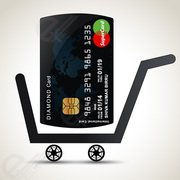 Free vector shopping cart with credit card