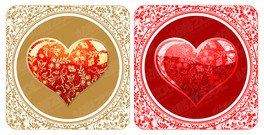 A beautiful crystal style heart-shaped pattern vector materi