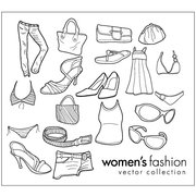 Line drawing vector objects to wear women's clothing materia