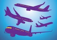 Airplanes Vector Silhouettes Set