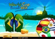Brazil 2014 ball on Rio beach