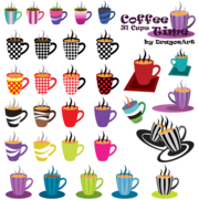Clipart temps café : 31 tasses Vector Set