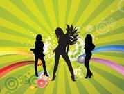 Free Silhouettes of Dancing Girls with Abstract Background