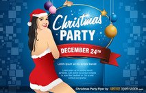 Christmas Party Flyer Template Vector Free