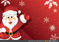Cartoon Santa over Christmas Background