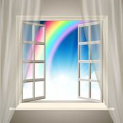 Realistic Interior Background with Rainbow