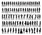 People silhouette Vector various material position