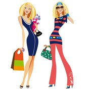 Fashion girls with new purchases