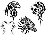 Free Tribal Animals Clip art: Eagle Head, Lion, Dragon and Horse