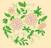 Fashion Cartoon Vector floral elements of material