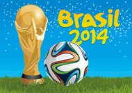 Brazil 2014 trophy and football