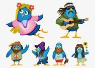 Hippie Cartoon aves