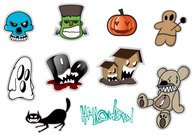 Gratis Halloween Stickers Vector Set