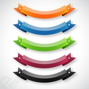 Set of five vector ribbon banners