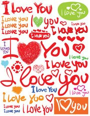 Valentine's Day fonts Vector material hand-painted English