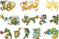 Chinese Classical Dragon Vector Of The Five