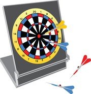 Vector Dartboard With Darts