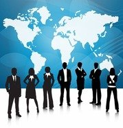 Business People Team With World Map