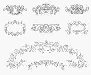 Vintage Floral Design Elements Vector Set