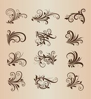 Collection of Vector Vintage Floral Ornament Design Elements
