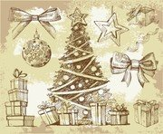 Vintage New Year Christmas Elements