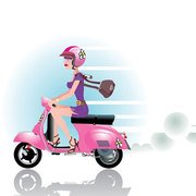 Girl with bike scooter