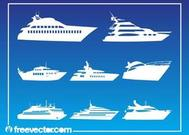 Yachts Silhouettes Set
