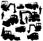 Heavy Duty Construction Equipment Vector Silhouettes